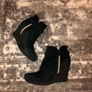 Ugg black wedge suede booties 8.5